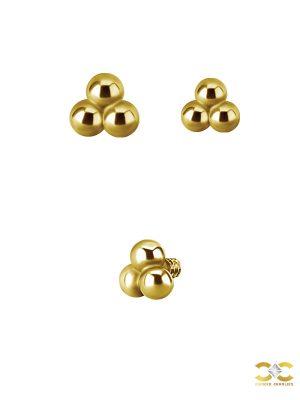 Tribead Push-in Stud Earring, 18k Yellow Gold