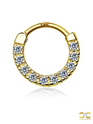 Pave CZ Daith Clicker Earring, 14k Yellow Gold, 10mm