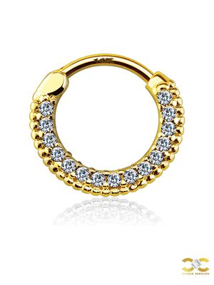 Pave Beaded Daith Clicker Earring, 14k Yellow Gold, 10mm
