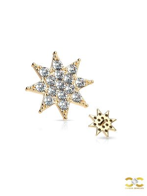 Pave Starburst Threaded Stud Earring, 14k Yellow Gold