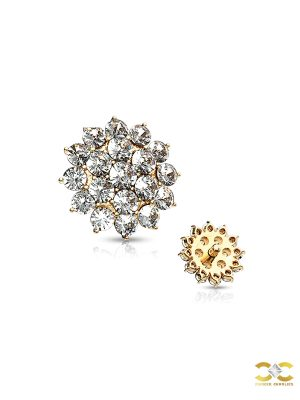 Paved Round Flower Threaded Stud Earring, 14k Yellow Gold