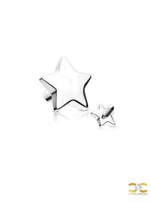 Star Threaded Stud Earring, 14k White Gold