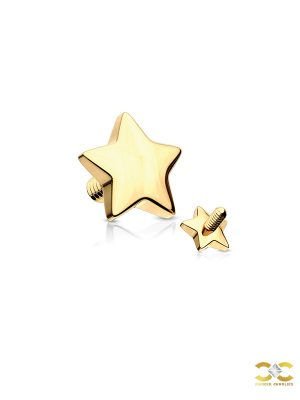 Star Threaded Stud Earring, 14k Yellow Gold