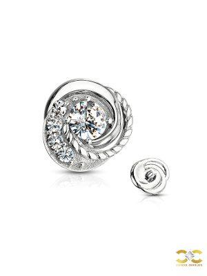 Pave Swirl Flower Threaded Stud Earring, 14k White Gold