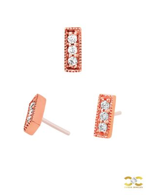 Junipurr Pave Bar Stud Earring, 14k Rose Gold