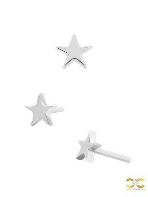 Junipurr Star Push-In Stud Earring, 14k White Gold