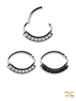 8-Gem Daith Clicker Earring, Steel, 6mm Oval