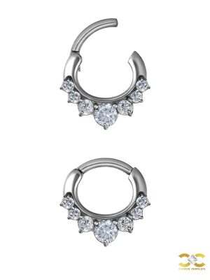 7-Gem Daith Clicker Earring, Steel, 8mm
