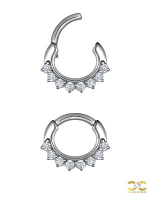 8-Gem Daith Clicker Earring, Steel, 6mm
