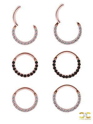 Pave Daith Clicker Earring, 18k Rose Gold, Medium
