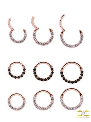 Pave Daith Clicker Earring, 18k Rose Gold, Small