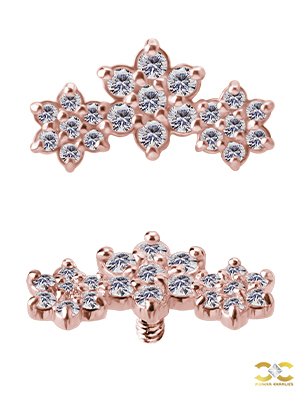 3-Flower Garland Threaded Stud Earring, 18k Rose Gold