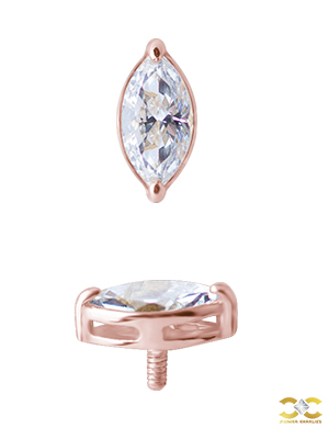 Prong Marquise Threaded Stud Earring, 18k Rose Gold