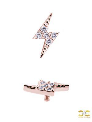 Mini Pave Lightning Bolt Threaded Stud Earring, 18k Rose Gold