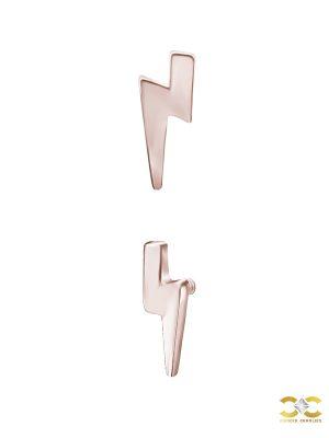 Lightning Bolt Threaded Stud Earring, Mini, 18k Rose Gold
