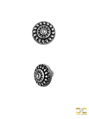 Shield Threaded Stud Earring, Millgrain, Steel