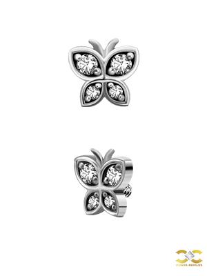 Steel Swarovski® Zirconia Butterfly Stud