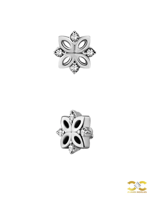 Swarovski® Zirconia Flower Stud, 8 Point, Steel