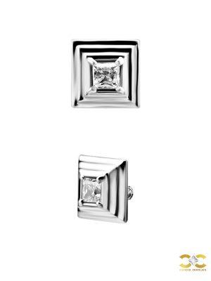 Steel Swarovski® Zirconia Zigurat Stud