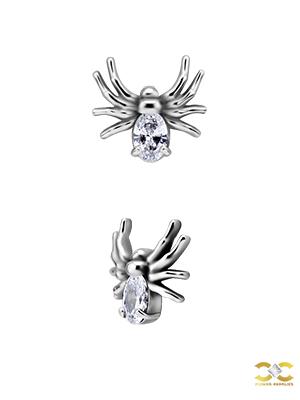 Steel Swarovski® Zirconia Spider Stud