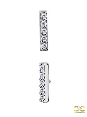 Steel 5-Swarovski® Zirconia Stick Stud