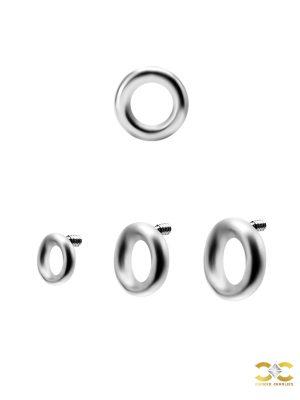 Circle Threaded Stud Earring, Titanium