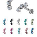3-Swarovski® Crystals Cluster Threaded Stud, Titanium
