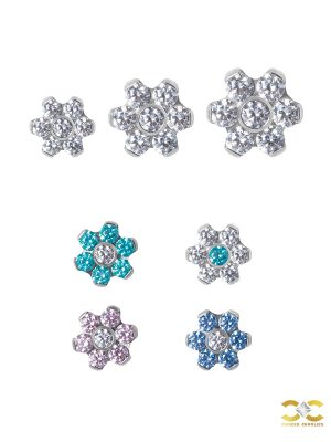 Flower Threaded Stud Earring, Titanium