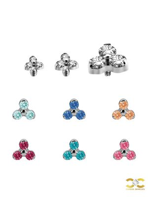 Trinity Threaded Stud Earring, Titanium