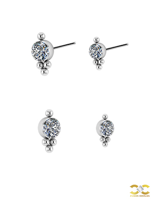 4-Ball Swarovski® Zirconia Threaded Stud, Titanium