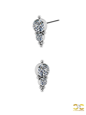 6-Bead 2-Swarovski® Zirconia Threaded Stud, Titanium