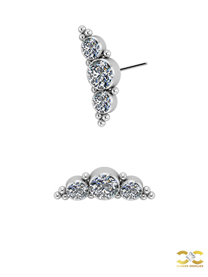 3-Gem Beaded Cluster Threaded Stud, Titanium, Swarovski® Zirconia