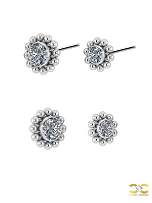 Beaded Flower Swarovski® Zirconia Threaded Stud, Titanium
