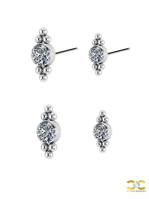 Double tribead Swarovski® Zirconia Push-in Stud, Titanium