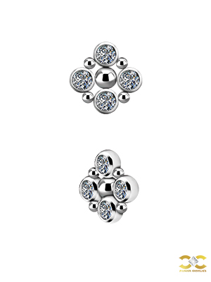 Bezel Set Quad Beaded Threaded Stud, Titanium, Swarovski® Crystals