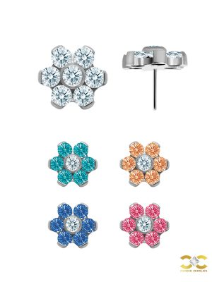 Flower Push-in Stud Earring, Titanium