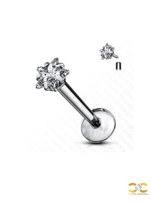 Prong Set Star CZ Threaded Stud Earring, Titanium