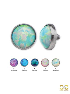 Created Opal Threaded Stud Earring, Titanium
