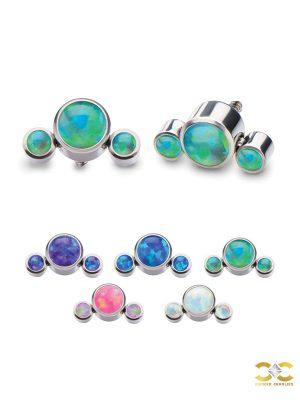 3-Created Opal Cluster Threaded Stud Earring, Titanium, Mini Accents