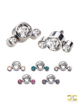 3-CZ Cluster Threaded Stud Earring, Titanium