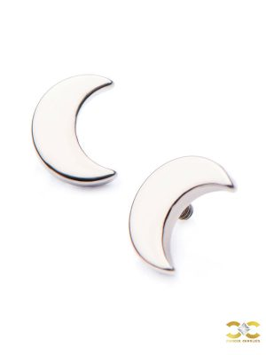 Crescent Moon Threaded Stud Earring, Titanium