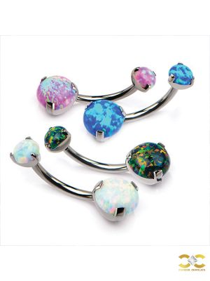 Prong Set Double Created Opal Belly Bar, Titanium