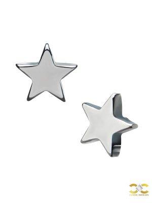 Star Threaded Stud Earring, Titanium