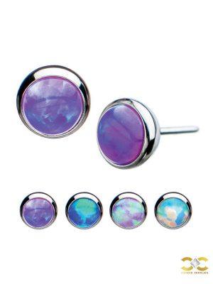 Created Opal Push-In Stud Earring, Titanium
