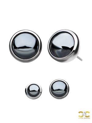 Created Hematite Push-In Stud Earring, Titanium