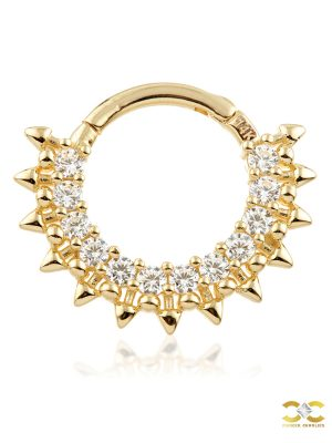 Spiked Pave Daith Clicker Earring, 14k-9k Yellow Gold, 8mm