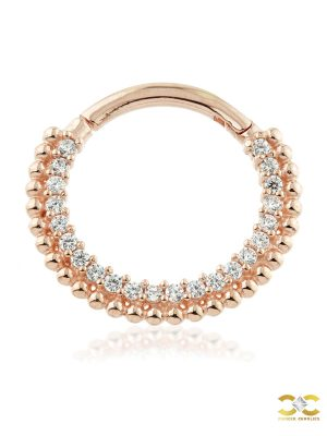 Pave Beaded Daith Clicker Earring, 14k-9k Rose Gold, 10mm