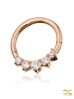 5-Gem Daith Clicker Earring, 14k-9k Rose Gold, 8mm