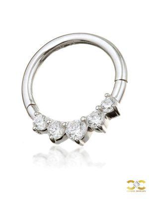 5-Gem Daith Clicker Earring, 14k-9k White Gold, 8mm