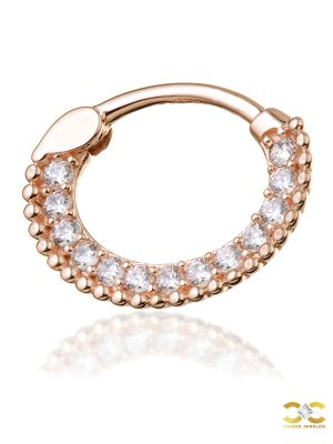 Pave Beaded Daith Clicker Earring, 14k-9k Rose Gold, 6mm Oval